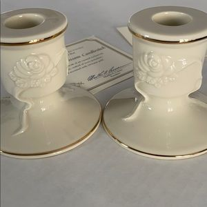 LENOX COLLECTIONS ROSE BLOSSOM CANDLESTICKS
